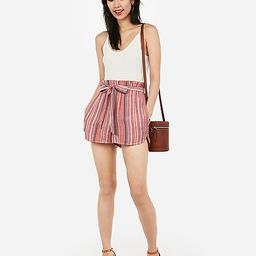 high waisted striped sash tie shorts   Express