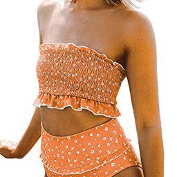 VECVOC Women's Floral Printed Ruffle High Waisted Bikini Set Pleated Bandeau Two Pieces Bathing S...   Amazon (US)