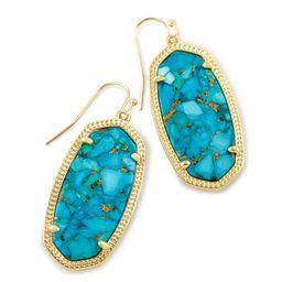Elle Gold Drop Earrings in Bronze Veined Turquoise Magnesite | Kendra Scott | Kendra Scott