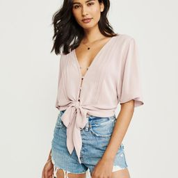 Tie-Front V-Neck Blouse | Abercrombie & Fitch US & UK