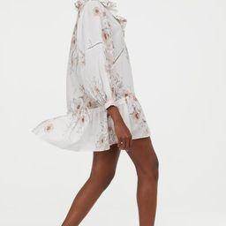 Flounced Dress - White/floral -    H&M US   H&M (US)