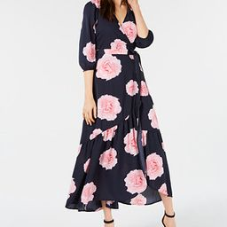 Bar III Floral-Print Flounce Wrap Dress, Created for Macy's & Reviews - Dresses - Women - Macy's | Macys (US)