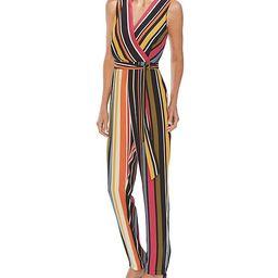Sleeveless Striped Slim Leg Belted Jumpsuit | Dillards