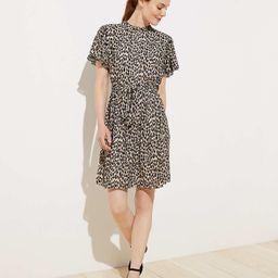 Leopard Print Tie Waist Flutter Dress | LOFT