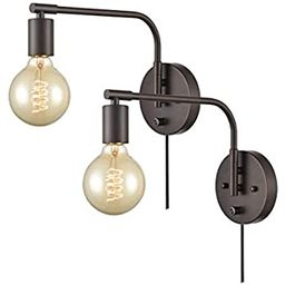 DANXU Edison Industrial Wall Sconces Set of Two Sconce Plug in with Switch Swing Arm Oil Rubbed B... | Amazon (US)