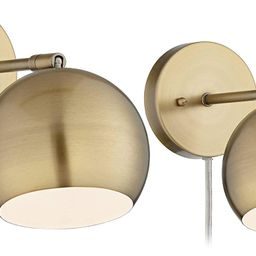 Selena Wall Lights LED Plug in Set of 2 Brass Sphere Shade Pin Up for Bedroom Living Room Reading... | Amazon (US)