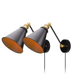 Industrial Bedroom Wall Lamps Plug in with Switch Vintage Wall Reading Light Simplicity Sconces S... | Amazon (US)