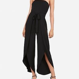 strapless sash tie slit front wide leg jumpsuit   Express
