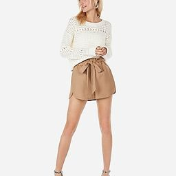 high waisted sash tie linen-blend utility shorts   Express