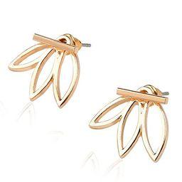 Lotus Studs Ear Crawler Earrings Cuff Climber Ear Wrap Pin Vine Pierced Charms Geometric Clip On ... | Amazon (US)
