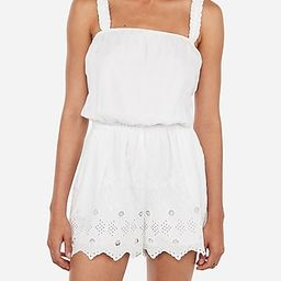 Eyelet Lace Cinched Strap Romper   Express