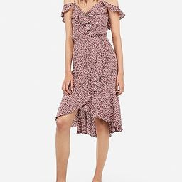Printed Ruffle Wrap Cold Shoulder Midi Dress   Express