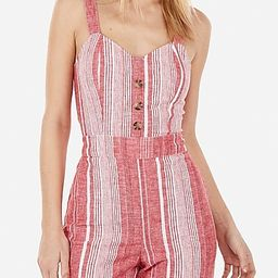 Striped Linen-blend Button Front Tie Back Jumpsuit   Express