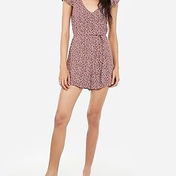 Printed Covered Button V-neck Tie Waist Romper   Express