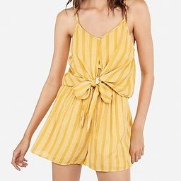 Printed Tie Overlay Flounce Romper   Express