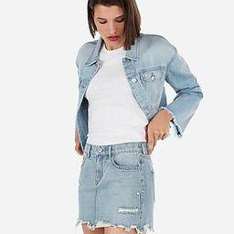 mid rise medium wash distressed mini jean skirt   Express