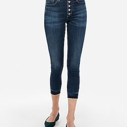 high waisted button fly cropped jean leggings   Express