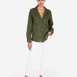 linen-blend lapel collar y-neck shirt | Express