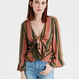 AE Embroidered Tie Front Top | American Eagle Outfitters (US & CA)