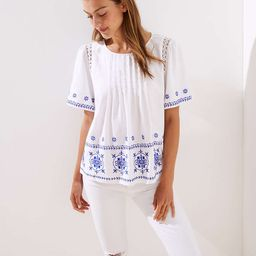 Embroidered Pintucked Top   LOFT
