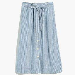 Tie Palisade Button-Front Midi Skirt in Pilar Stripe   Madewell