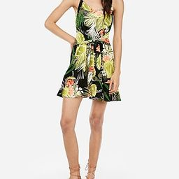 floral relaxed tie front flounce dress | Express