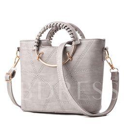 Elegent Circular Ring Handle Zipper Tote Bag | TBDress.com