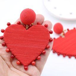 Pearl Cora drop heart earrings Les bonbons style  cord wrap heart earrings earrings | Etsy (US)