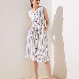 Striped Button Down Pocket Dress   LOFT