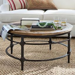 Parquet Reclaimed Wood Round Coffee Table   Pottery Barn (US)