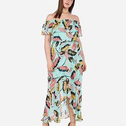 tropical ruffle off the shoulder maxi dress | Express
