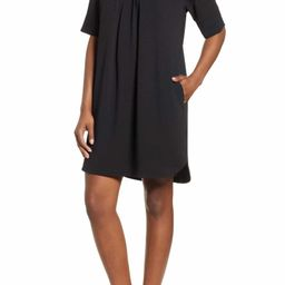 Pleat Front Curved Hem Shirtdress | Nordstrom