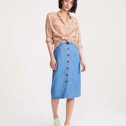 Lou & Grey Chambray Button Midi Skirt   Lou & Grey   Lou & Grey (US)