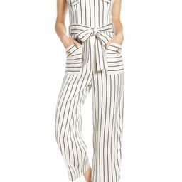 Stripe Tie Waist Wide Leg Crop Linen Blend Jumpsuit | Nordstrom