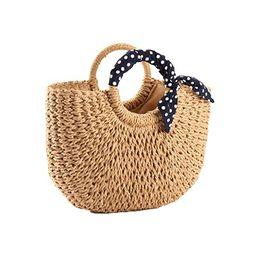 YOUNG-X Handmade Straw PurseHobo Mini Tote Natural Vintage Bag, Women Round Handle Ring Rattan ... | Amazon (US)