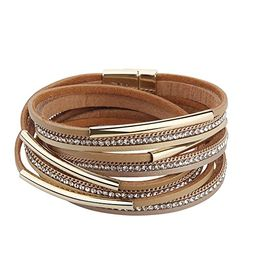 TASBERN Women Wrap Bracelet in Goldplated Metallic Crystal Leather Rope Cuff Bangle with Magnetic... | Amazon (US)