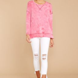 All About Casual Pink Stone Washed Pullover   Red Dress