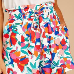 Chic Solution Red Floral Print Shorts   Red Dress