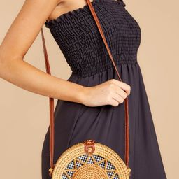 Chance Meeting Tan And Gingham Round Bag   Red Dress