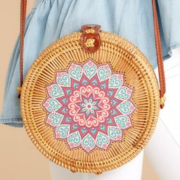 A Little Charmed Blue Printed Tan Round Bag   Red Dress