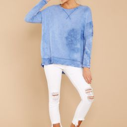 All About Casual Blue Stone Washed Pullover   Red Dress