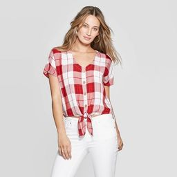 Women's Short Sleeve V-Neck Plaid Tie Front Top - Universal Thread™ Red   Target