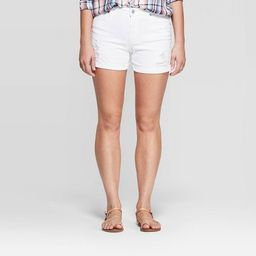 Women's High-Rise Destroyed Midi Jean Shorts - Universal Thread™ White   Target