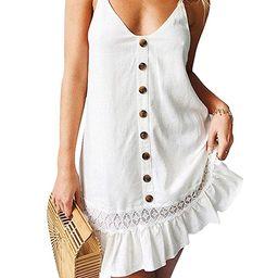 D Jill Women's Summer V Neck Spaghetti Strap Button Down Swing Casual Mini Dress Sleeveless   Amazon (US)