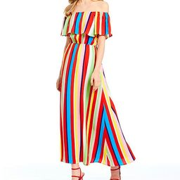 Flounce Off-the-Shoulder Stripe Maxi Dress | Dillards