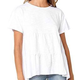 Women's Summer Short Sleeve Loose T Shirt High Low Hem Babydoll Peplum Tops | Amazon (US)