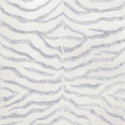 Gray Contemporary Zebra Print with Faux Silk Highlights Safari Area Rug | Rugs USA