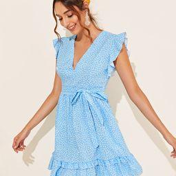 Dalmatian Print Ruffle Trim Tie Front Dress   SHEIN