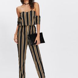 SHEINFlounce Layered Neck Striped Jumpsuit   SHEIN