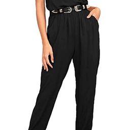 ZJCT Womens V Neck Jumpsuits Summer Casual Spaghetti Strap Sleeveless Elastic Waist Playsuit Romp... | Amazon (US)